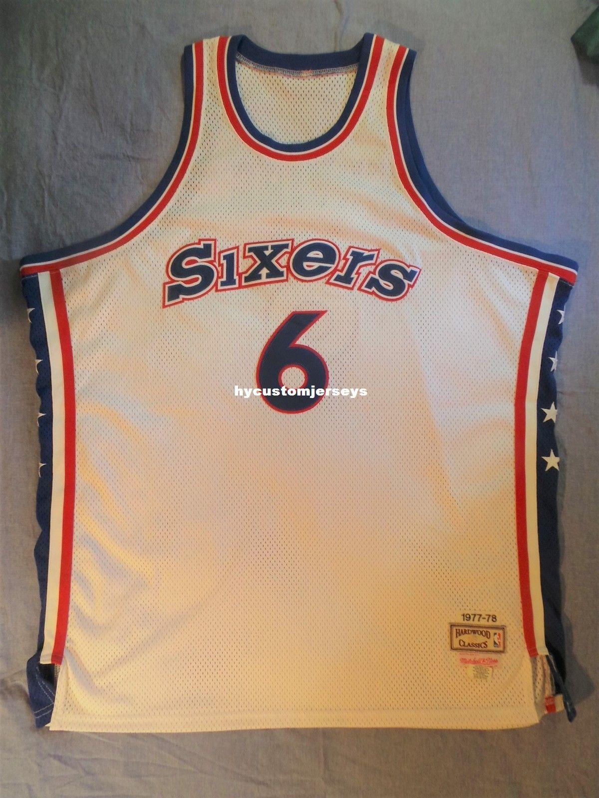official photos 5a254 f6f22 Mitchell Ness M&N Sewn #6 Julius Dr J Erving Jersey Mens Vest Size XS-6XL  Stitched basketball Jerseys Ncaa