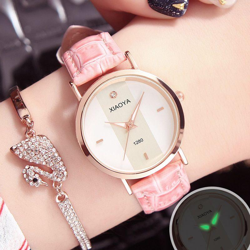 0b64efe1e7c Compre 2018 Relógios De Luxo Mulheres Moda Senhoras Vestido Relógios De  Pulso De Couro De Quartzo Casuais À Prova D  Água Relógio Feminino Relogios  Drop ...