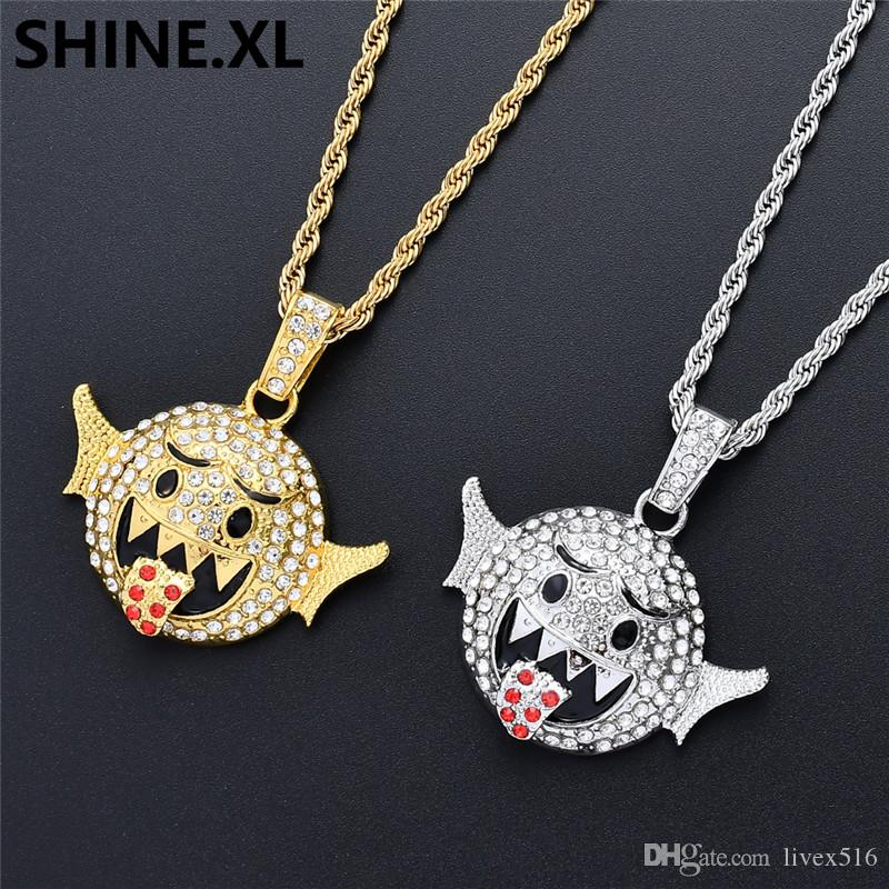 Hip Hop Gold Silver Plated Cartoon Emoji Face Pendant Necklace Chain Iced Out Full Rhinestone Mens Hip Hop Jewelry Gift
