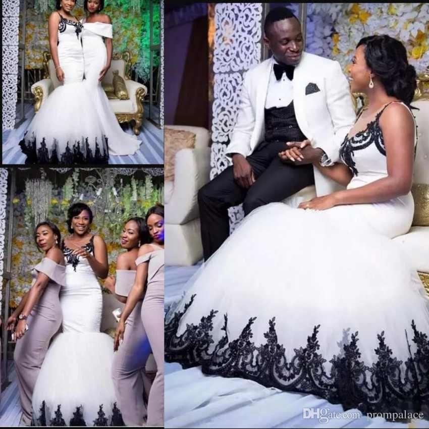 Arabic Country Plus Size Wedding Dresses Sleeveless Appliques Elegant Black  White Bridal Gowns Custom Mermaid Bride Dresses
