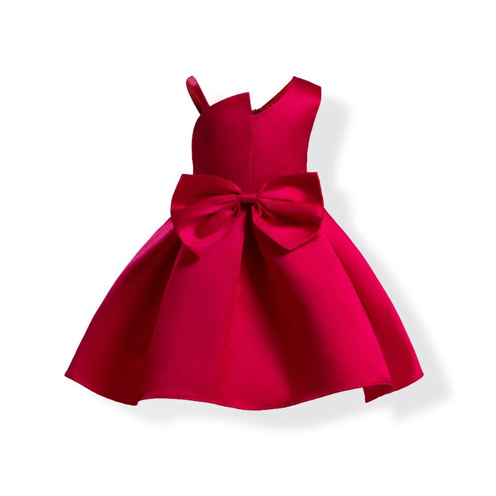 37e525684 2019 Baby Girls Bowknot Prom Dresses 2019 Kids Oblique Shoulder ...
