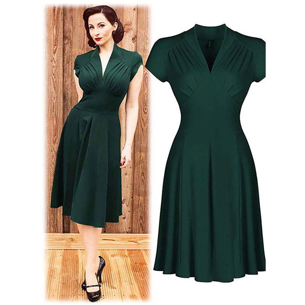 1b4e3a8f48eb Acquista Più Nuovo Stile Vintage Caldo Retro 1940 Shirtwaist Partito  Svasato Vestito Elegante Da Donna Estate Dress Swing Pattinatori Taglia 8  18 A  37.52 ...
