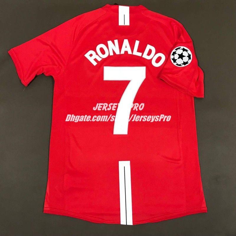 Compre Cristiano Ronaldo Old Trafford 2007 2008 07 08 UCL Liga Dos Campeões  Final De Casa Retro Jersey Camisas Camiseta De Futbol Rooney Giggs Scholes  De ... 8b90940196bb0
