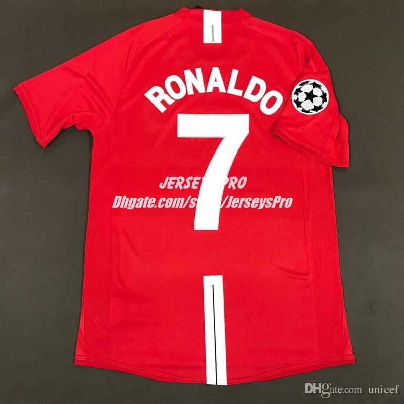 bda077b86 2019 Cristiano Ronaldo Old Trafford 2007 2008 07 08 UCL Champions League  Final Home Retro Jersey Shirts Camiseta De Futbol Rooney Giggs Scholes From  Unicef