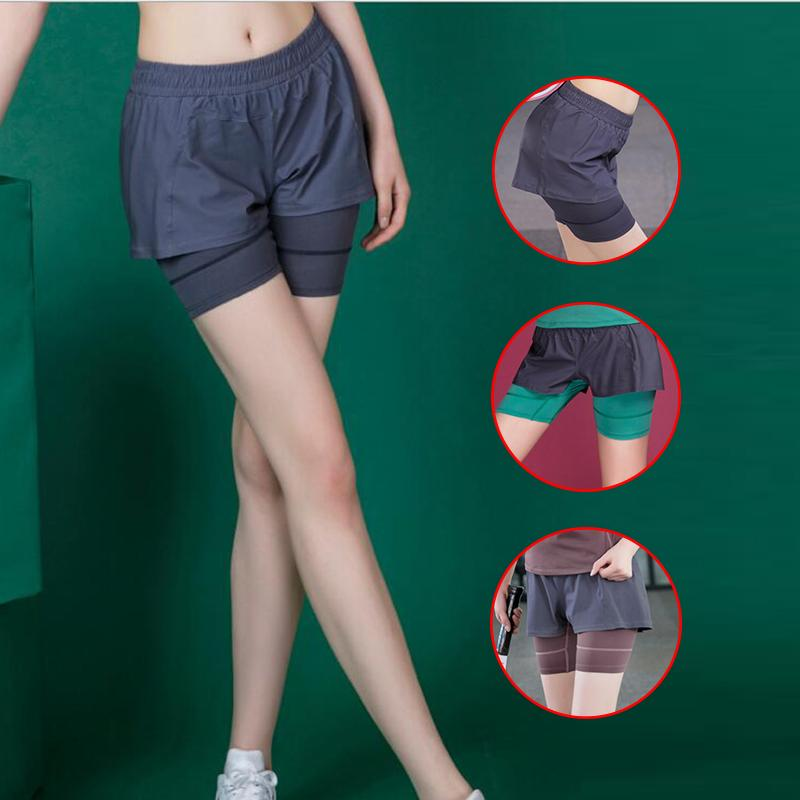 New women quick dry sports shorts casual fake two pieces yoga shorts deportivo mujer sport wear for women gym jogging femme