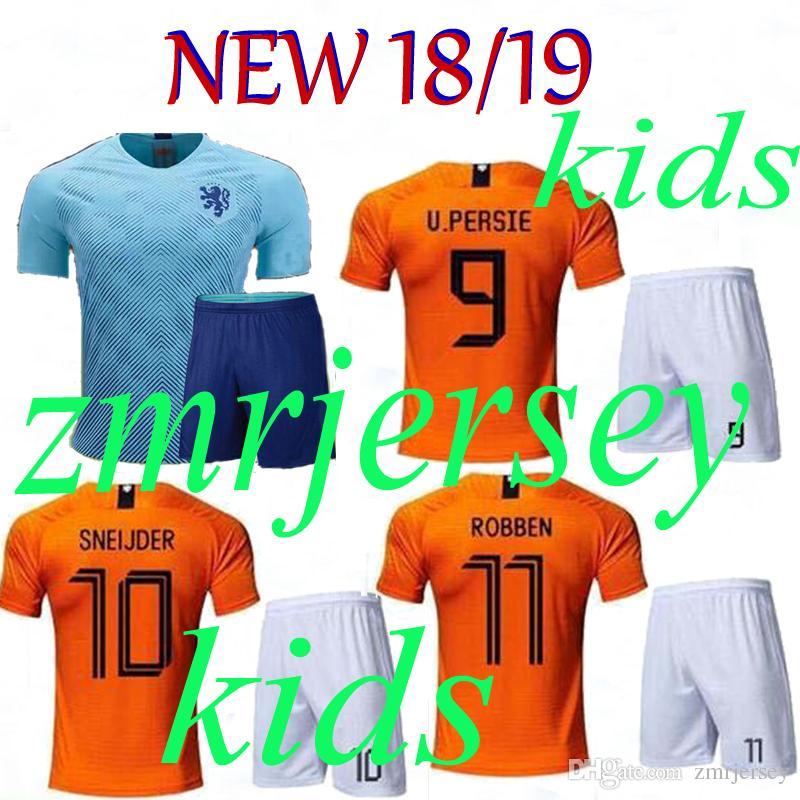 Compre 2018 2019 Holanda Camiseta De Fútbol Para Niños Local Lejos Local  Naranja Nacional Holanda Equipo Nacional JERSEY Memphis SNEIJDER V.Persie  Camisetas ... 4be0f9f41