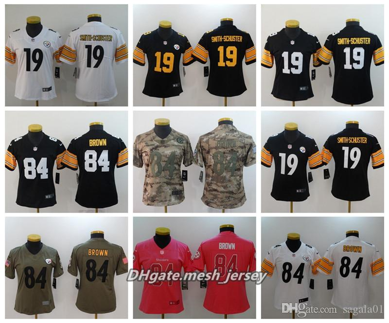sports shoes 84e3e ab323 Women Pittsburgh 2019 Steelers American Football Jersey 84 Antonio Brown 19  JuJu Smith-Schuster Color Rush Stitching Jerseys