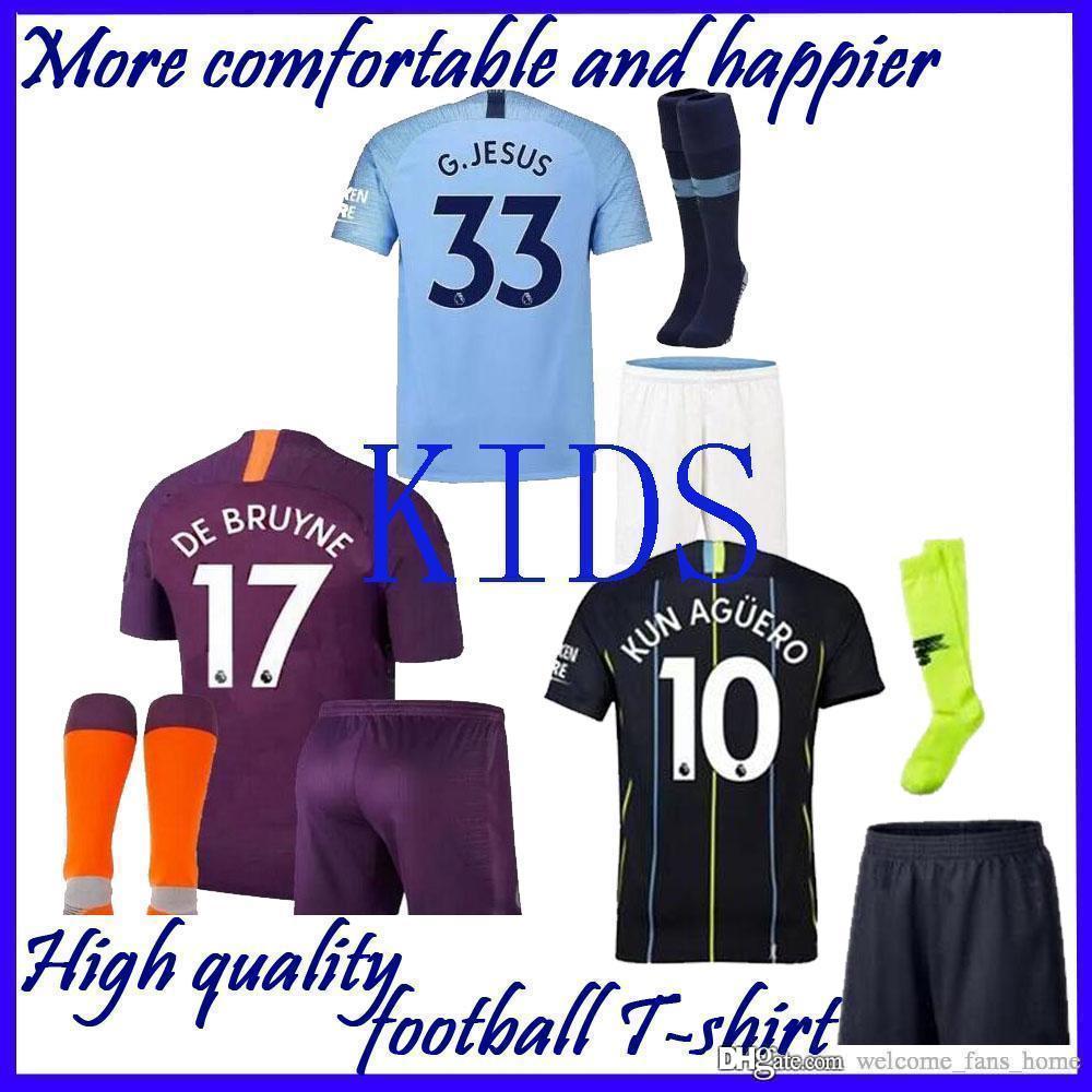 e3248c8c8 18 19 Manchester City Soccer Jersey G.JESUS KUN AGUERO SANE STERLING DE  BRUYNE MAHREZ BERNARDO Men Kids Youth 2019 Football Shirt Manchester City  Soccer ...