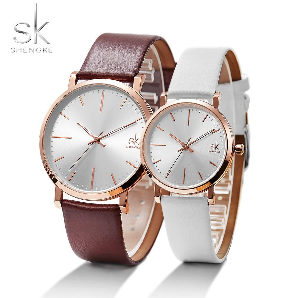 0107c2db7084 SHENGKE Couple Watches Gift For Lover Leather Strap Quartz Clock Orologio  Donna Simple Design White Dial Horloges Vrouwen Cheap Watch Cheap Watches  Online ...