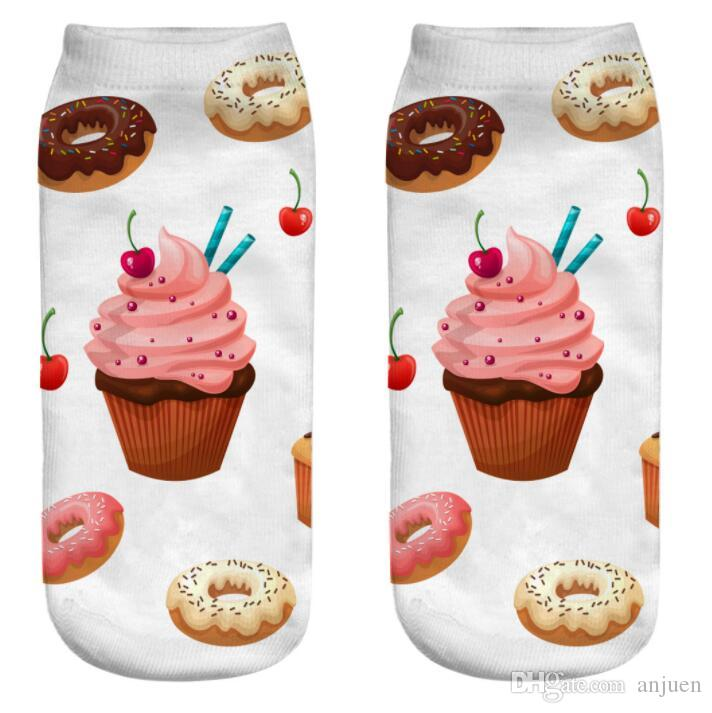 Food Donut Printing Socks Cartoon sports Anklet sock cute Women girls sweets fruits sock Sox Soft Polyester Fiber Colorful socks