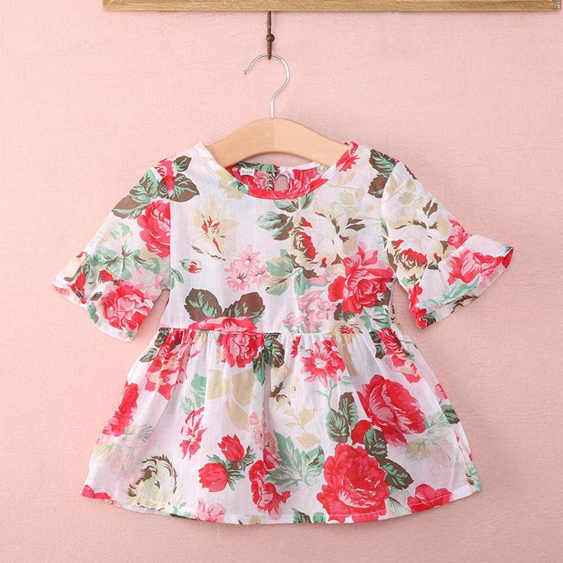사랑스러운 신생아 유아 아기 아이 소녀 용 의류 목화 캐주얼 공주 꽃 Flounced 긴팔 블라우스 아기 여자 드레스를 인쇄 탑
