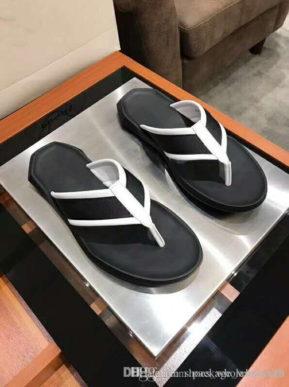938171e16f6 2019 Men Leather Slippers Black Beach Flip Flops Summer Sandals Classic  Style Comfortable Healthy Wedge Shoes Flat Shoes From Shoes wholesaler118