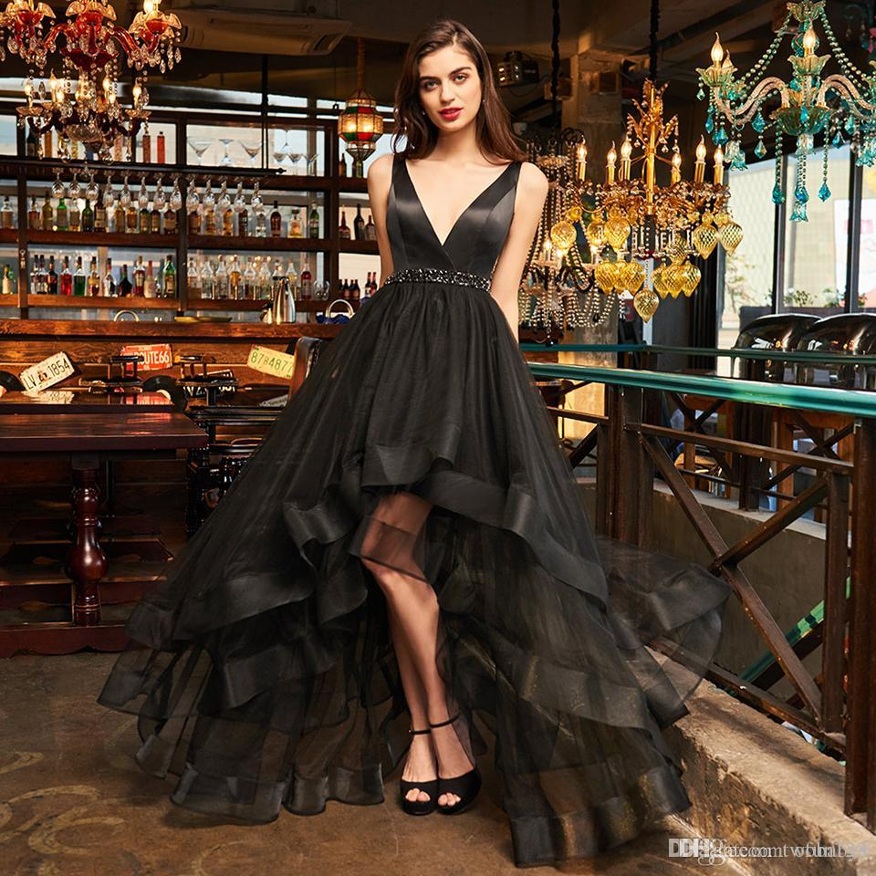 New black sample Evening dress elegant v neck zipper up a line beading wedding party formal dress cocktail dresses