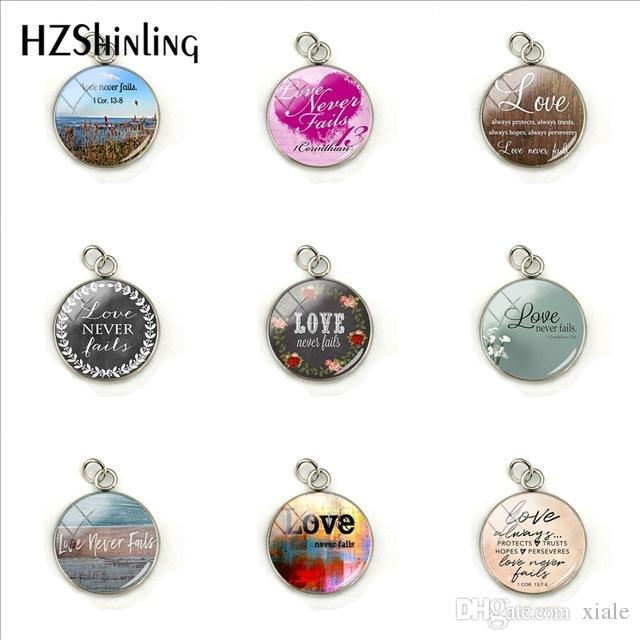 New Fashion 2019 New Love Never Fails 1 Cor.13 Trusts Hopes Stainless Steel Charms Glass Pendants Jewelry Wholesale