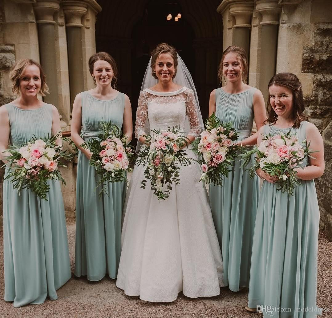Country Sage Bridesmaid Dresses 2019 Jewel