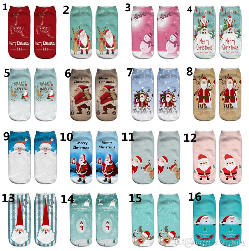 Merry Christmas Unisex Low Cut Ankle Socks 19x8cm 3d Printed Xmas Pattern Sock Cute Baby Girl Casual Cotton Sock Costumes & Accessories