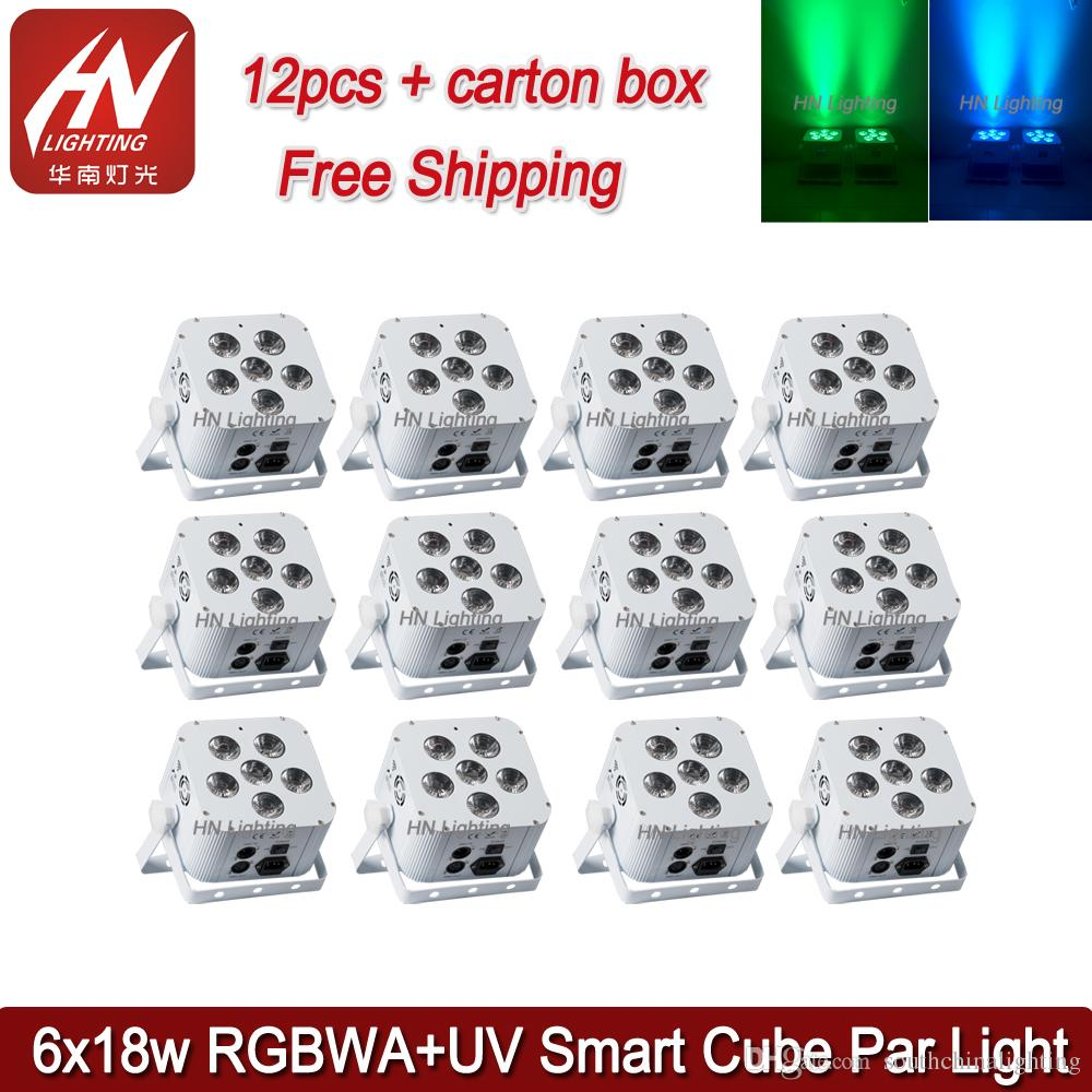 12pcs rechargeable battery led par can light 6*18W RGBWAUV remote control wireless led par can light wedding dj uplighting