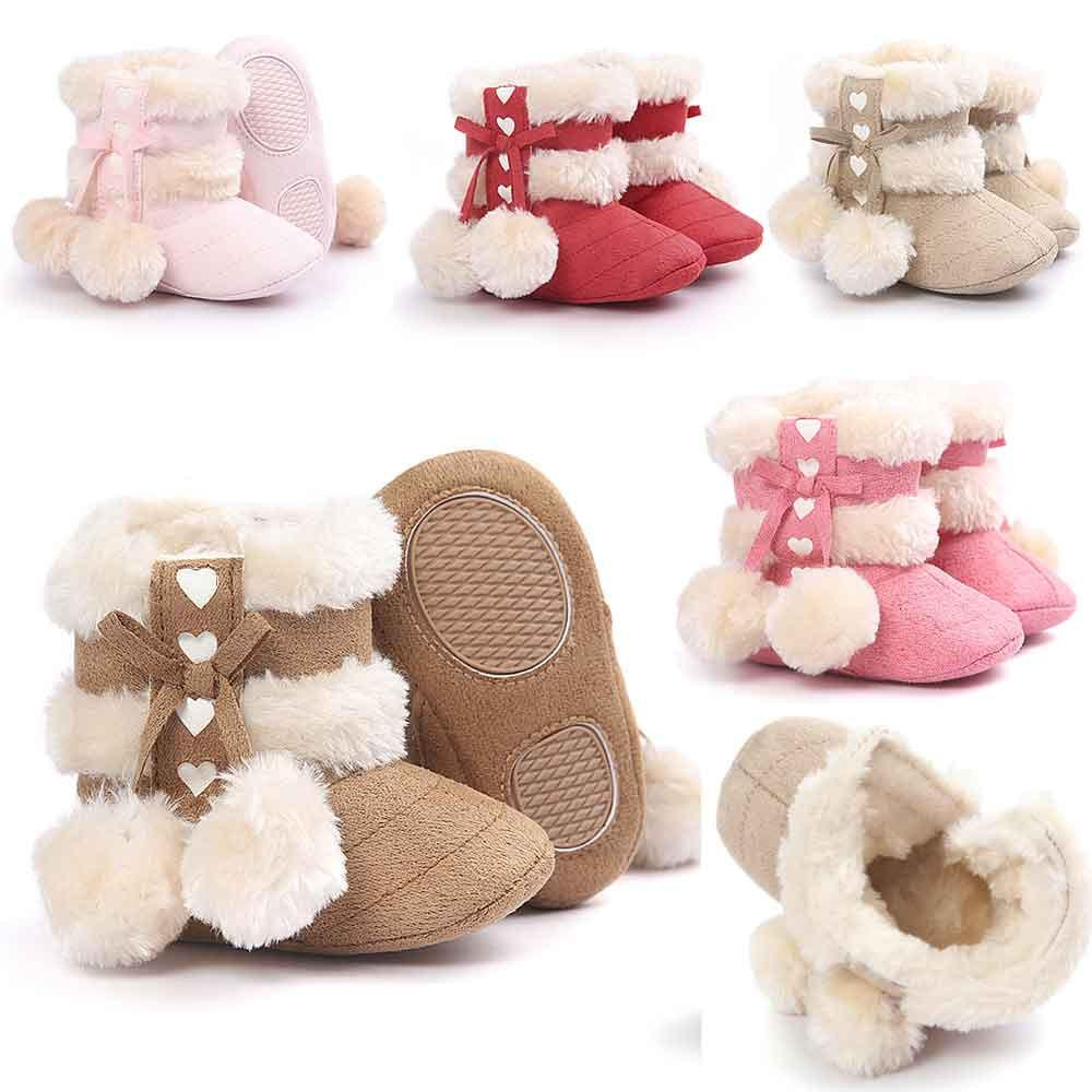 1216b5a3c26 Compre Bebé Zapatos Infantiles Niñas Pelotas De Peluche Botines Cuna ...