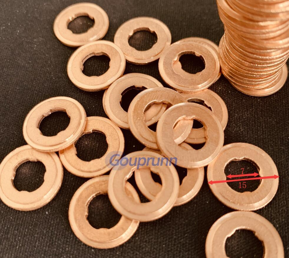 Free Shipping!100pcs Copper Washer Shim F00RJ01453 FOORJ01453 Common Rail Fuel Injector Nozzle Gasket Repair Kit Thickness 1.5mm