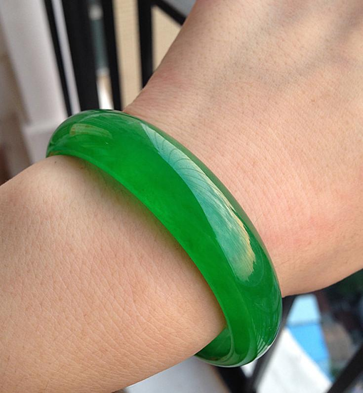 Fine Women's jewelry green jade bracelet with a certificate genuine natural green jade Emerald bracelets a0210