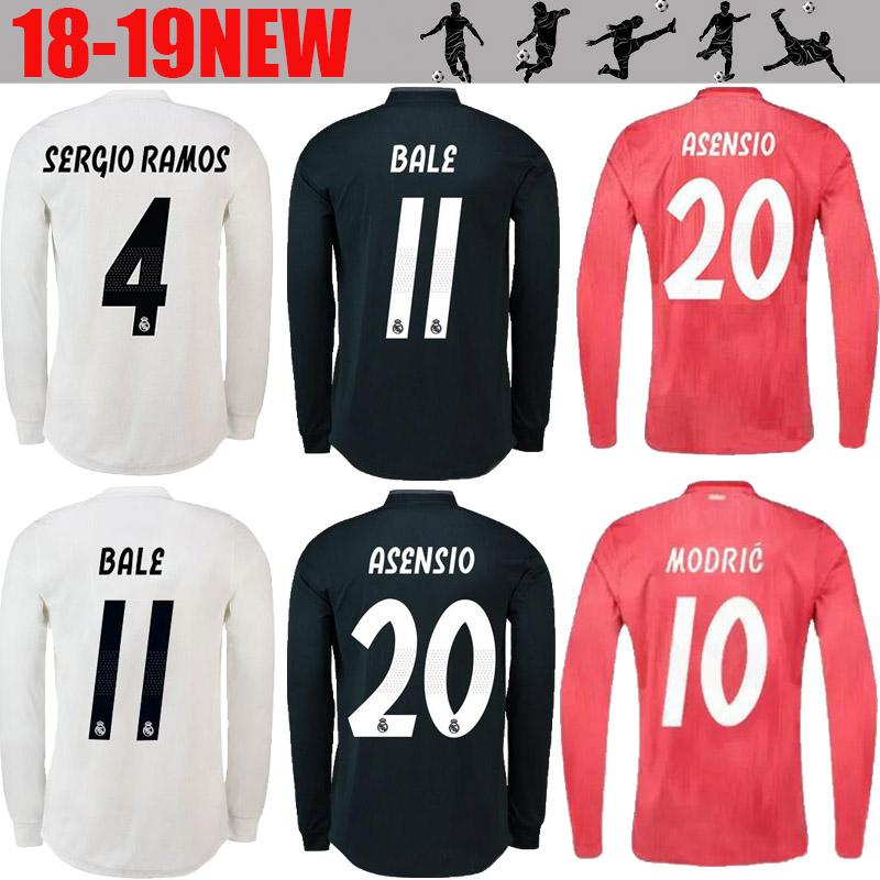 0a51d0118d029 Real Madrid EA Sports Camiseta De Manga Larga Jersey De Fútbol 2019  Campeones Liga 10 MODRIC 12 Marcelo   20 ASENSIO ISCO Away Coral Rojo  Uniforme De Fútbol ...