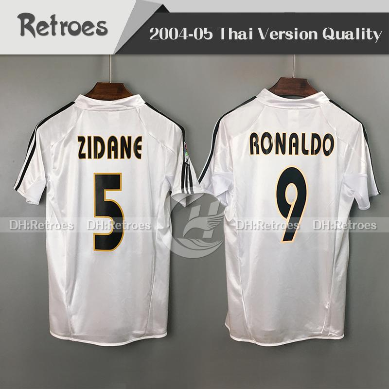 04 05 real Madrid retro soccer jersey 2004 2005 real Madrid Home 5# ZIDANE BECKHAM #9 RONALDO CARLOS #9 RAUL men classic Football Shirt