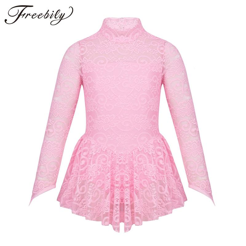 aec2e3a02 2019 Kids Girls Floral Lace Figure Ice Skating Dress Roller Skating ...