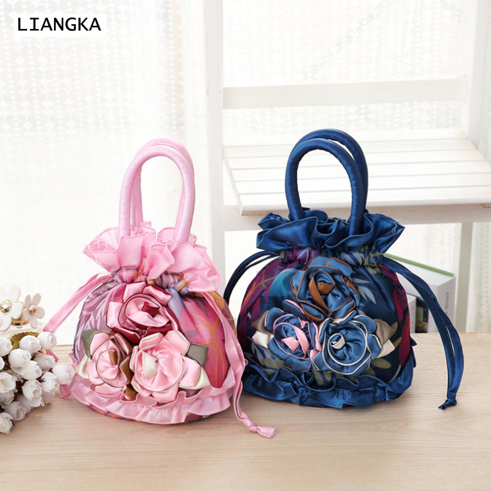 LIANGKA Women Small Ruffle Lace Handbag 3pcs Handmade Flower Clutch Bag Wristbag Purse Female Clutch Drawstring Bag