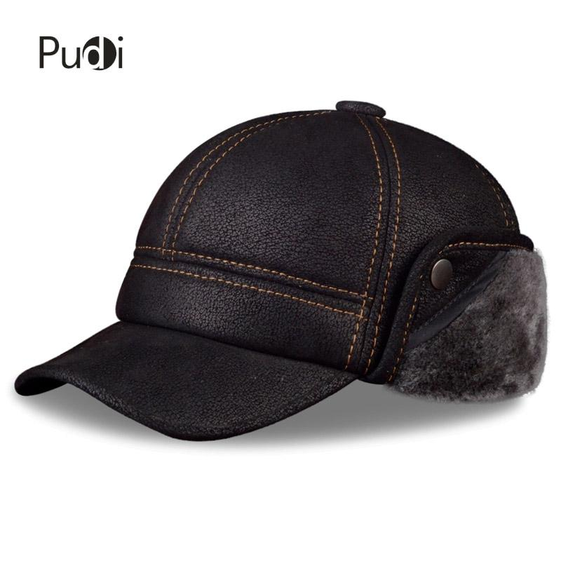 a502268272437 2019 Pudi Men S Scrub Genuine Leather Baseball Caps Hats Faux Fur Winter  Warm Ear Flap Hat   Cap Black Brown Camel HL083 From Hlq1027