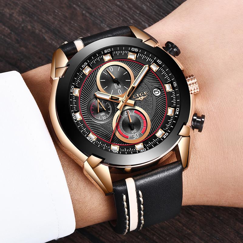 b75e64cd020 2019 LIGE Watch Men Fashion Business Top Brand Luxury Quartz Wristwatch Man  Casual Leather Waterproof Sport Chronograph Wrist Watches Watch Sale From  ...