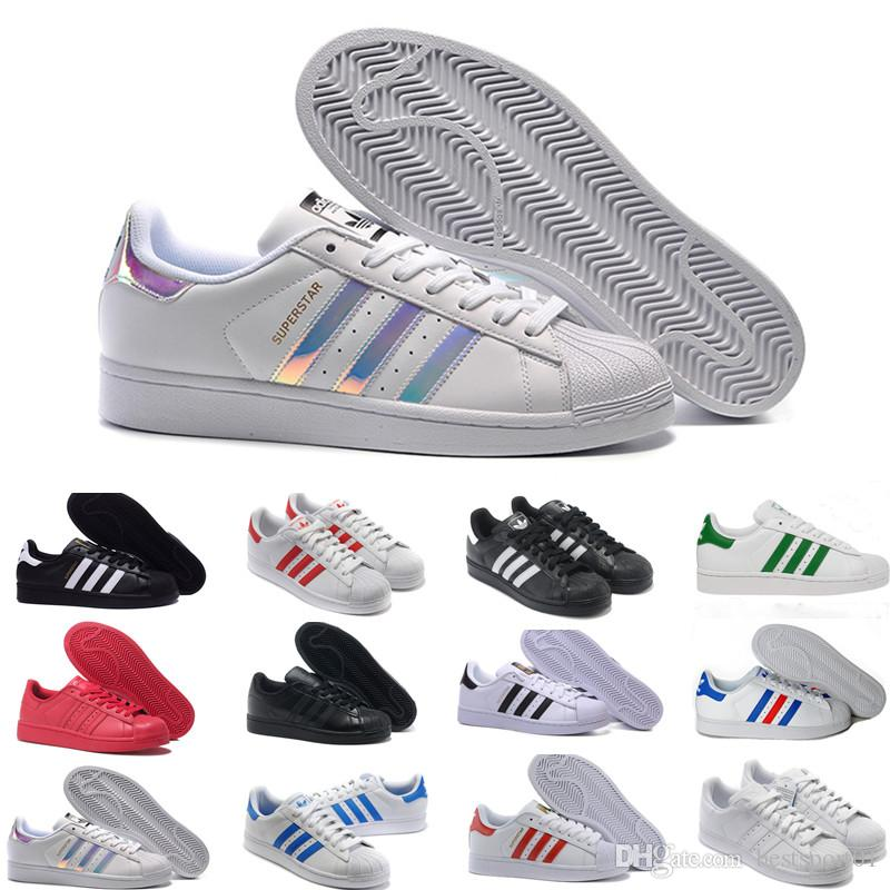 2019 Cheap Women Superstar White Hologram Iridescent Junior Pride Sneakers Super Star Speed Trainer Men Casual leather Shoes 36-44