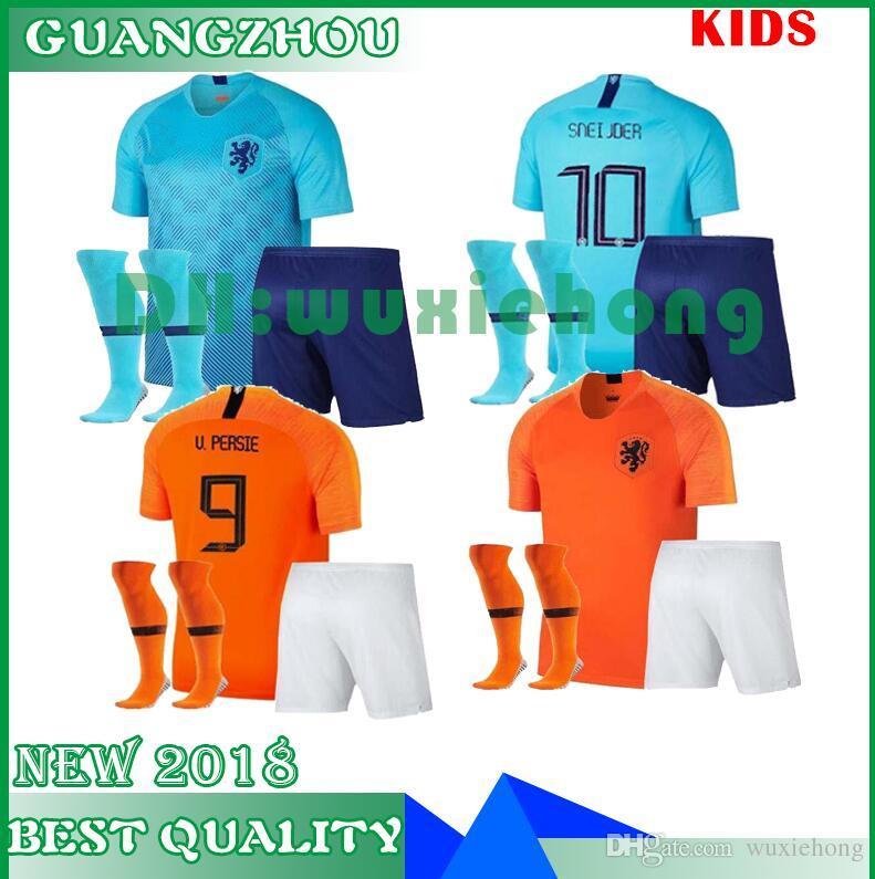 online store d7eb1 8e902 2018 2019 KIDS KIT MEMPHIS DE JONG 7 WIJNALDUM 8 AWAY BLUE KIDS 18 19 kids  Netherlands soccer jerseys home JERSEY FOOTBALL SHIRTS