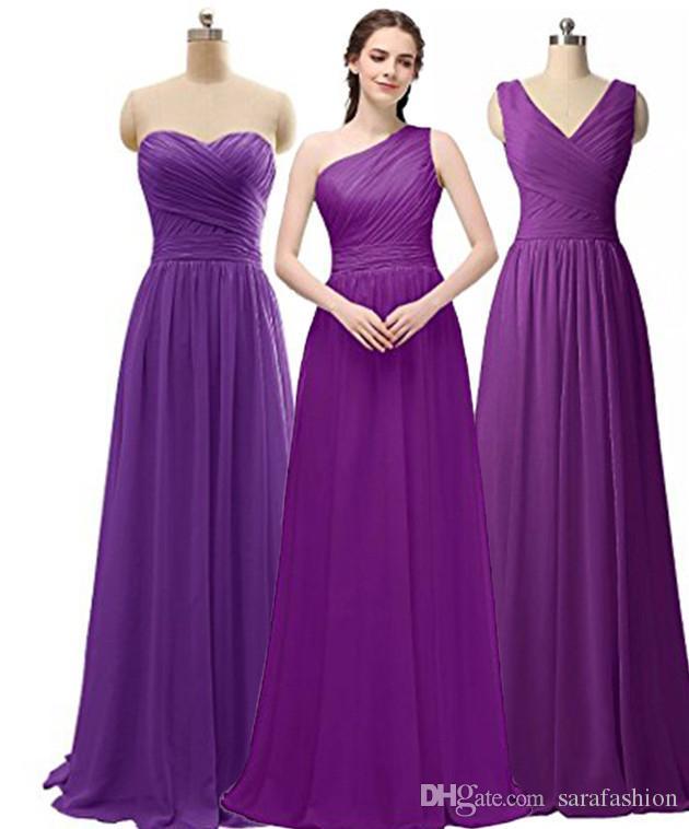 Pleated Long Chiffon Bridesmaid Dresses Zipper Back 2019 Floor Length Wedding Guest Dress Purple Royal Blue Mint Sky Blue