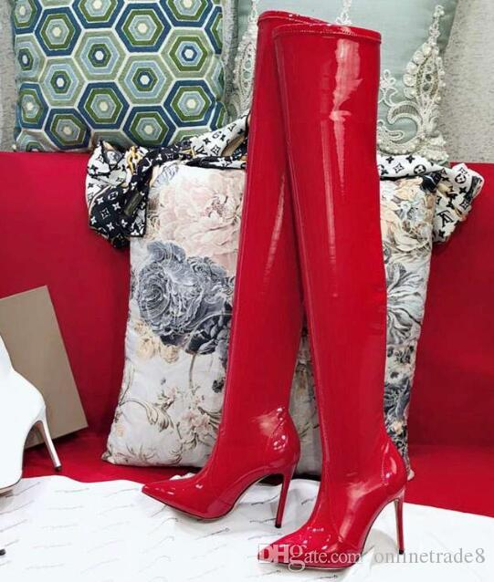 0a8d8e653753d Fashion Women Stretch Boots New Over The Knee Pointed Toe High Heel Long  Boots Winter Black Red Elastic Leather Boot 35 40 Cowboy Boots Chelsea Boots  From ...