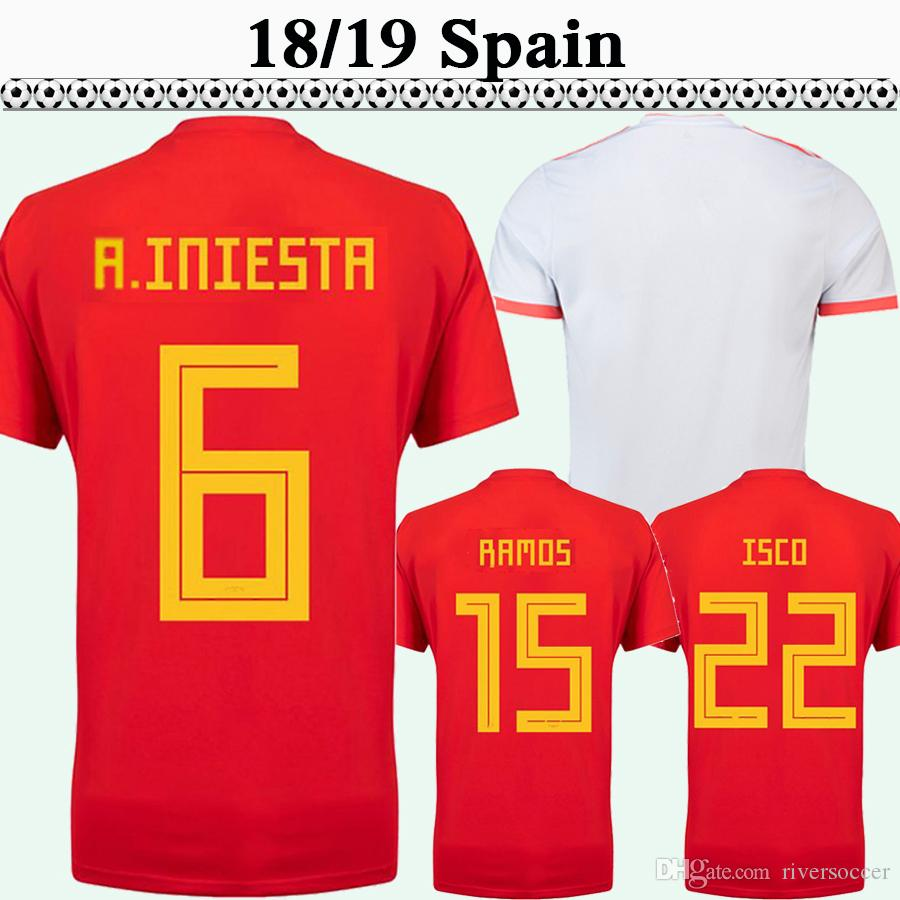 511b68248 2019 2018 Spain A.INIESTA SERGIO RAMOS Mens Soccer Jerseys ISCO DIEGO COSTA  Home Red Away Football Shirts ASENSIO PIQUE Short Sleeve Uniforms From ...