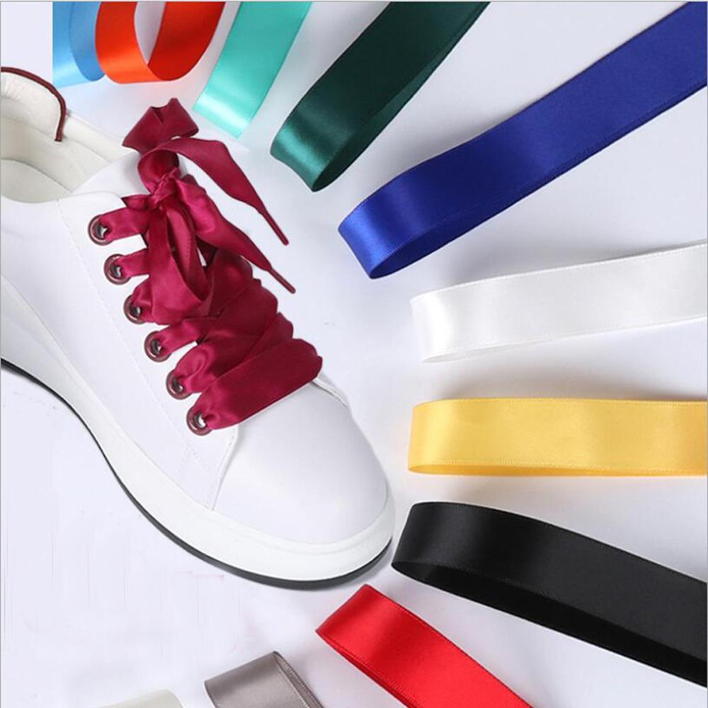 1 paio 2 CM Larghezza seta piatta merletto lacci di raso nastro di seta lacci scarpe sneaker scarpe sportive pizzo 100 cm lunghezza