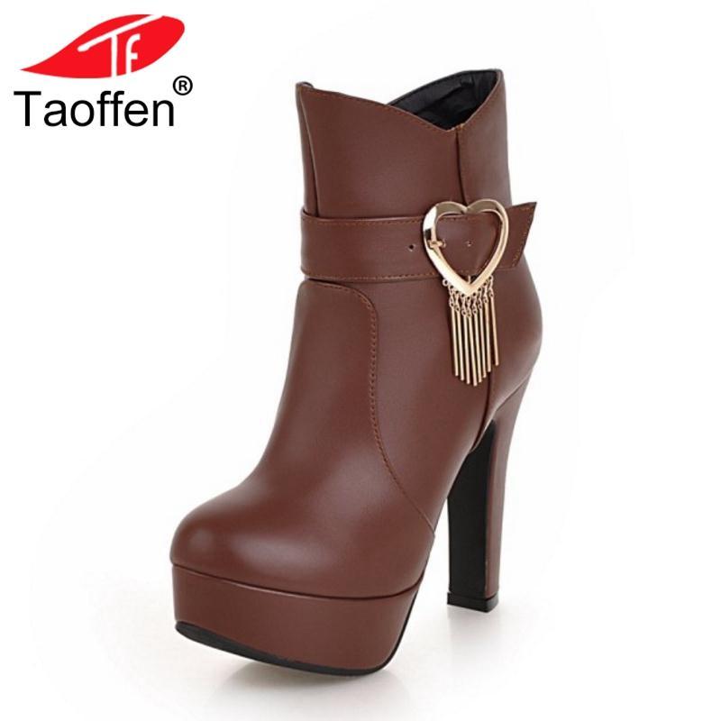 Mujer Botas Tacón Alto Tallas Compre 32 Zapatos Caliente Moda De Invierno Grandes Taoffen Tobillo Plataforma 48 Piel RxxW70w