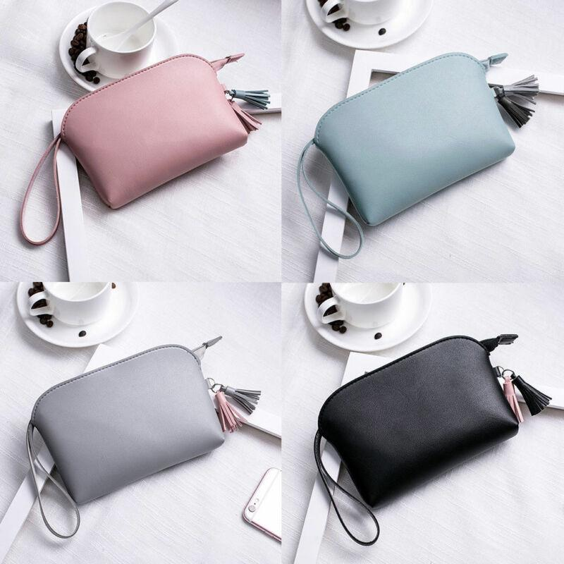 2019 New Women's PU Leather Clutch Wallet Zipper Solid Tassel Casual Fashion Handbag Makeup Bag Fashion Coin Purse Bag Wallets