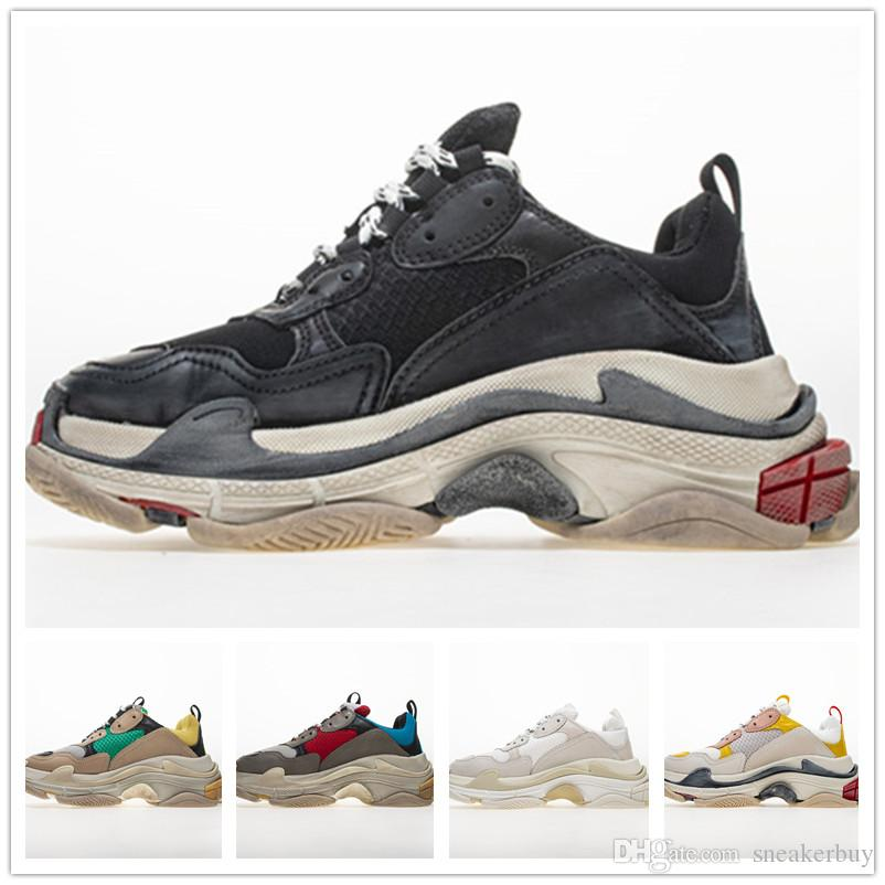 2019 Fashion Paris 17FW Sneaker Triple-S Triple S Casual Luxury Dad Shoes per uomo Donna Beige Nero Sport Tennis Running Shoe 35-45