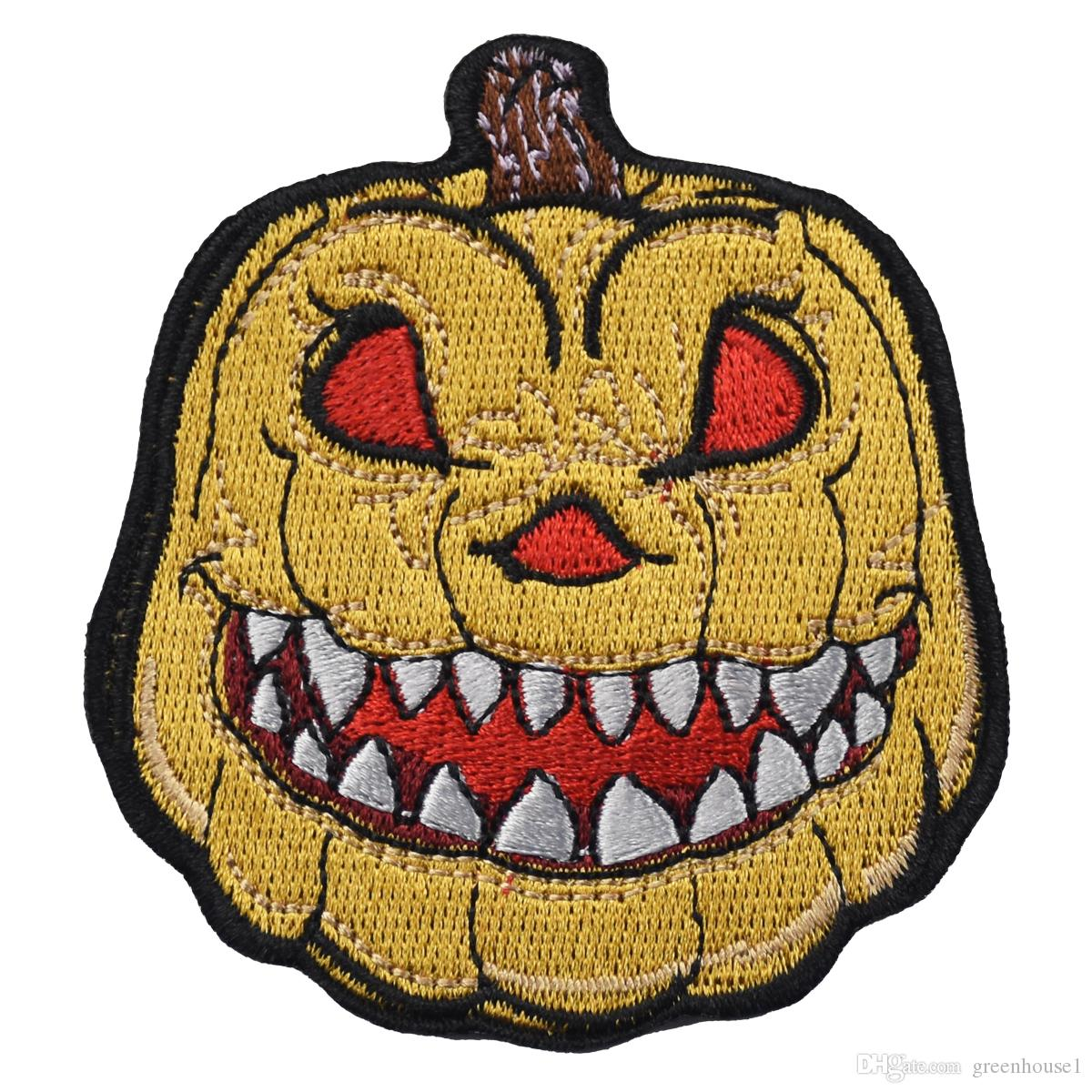 10pcs a Lot Cartoon Horror Pumpkin Lantern For Halloween Iron On Or Sew On Embroidered Patch for Transfer Applique Stickers Free Shipping