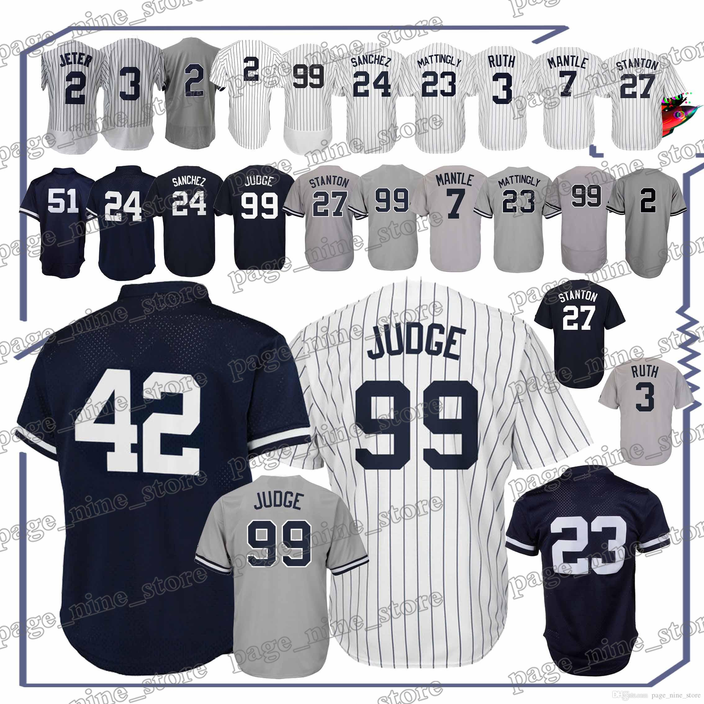 finest selection 742bb 9abb5 New York Yankees baseball jerseys 99 Aaron Judge 42 Mariano Rivera 23 Don  Mattingly 51 Bernie Williams jerseys