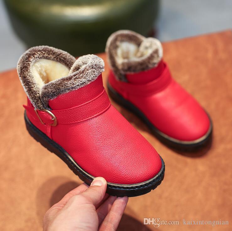 e56b1aa53 Compre Invierno 2018 Nuevos Niños Y Niñas Botas De Piel De Nieve Moda  Infantil Casual Más Terciopelo Engrosamiento Zapatos De Bebé  Antideslizantes Ligeros ...