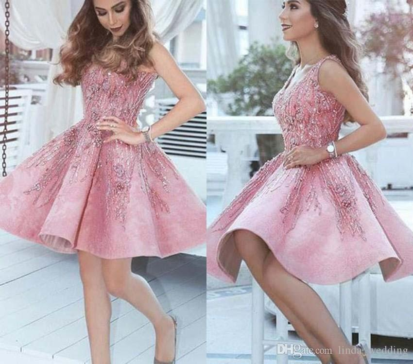 99752cba48c 2019 Short Arabic Pink Homecoming Dress A Line V Neck Juniors Sweet 15  Graduation Cocktail Party Dress Plus Size Custom Made Red Homecoming Dress  Royal Blue ...