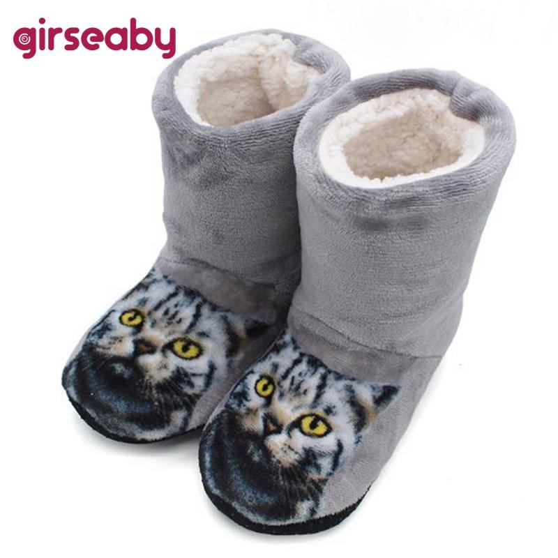 0cda21a7394 Girlseaby Cute Women Girls Slippers Cat Animation Home Slippers Winter Warm  Cozy Fluffy Soft Cotton Indoor House Shoes Thigh High Boots Booties From  Juiccy