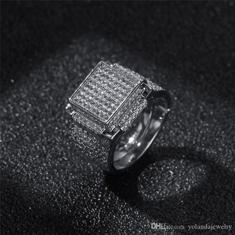 Hiphip giallo 18K oro bianco placcato gli anelli di diamante Mens superiore Fashaion Hip Hop Accessori CZ Gems commercio all'ingrosso dell'anello