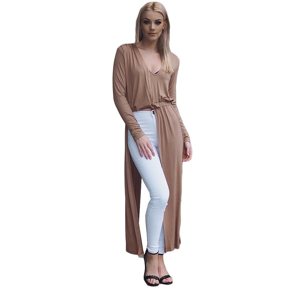 99c5b8d1ca84 2019 Autumn Fashion Sexy Women Maxi Dress V Neck Long Sleeve Slit Long Dress  Elegant Clubwear Party Dresses Black Burgundy Khaki Lace Sun Dresses Cute  White ...