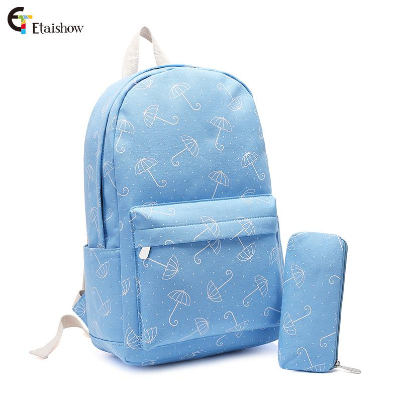 Canvas Printed Shoulder Bag Junior High School Students School Bag Girl Campus Backpack with Pen Bookbag