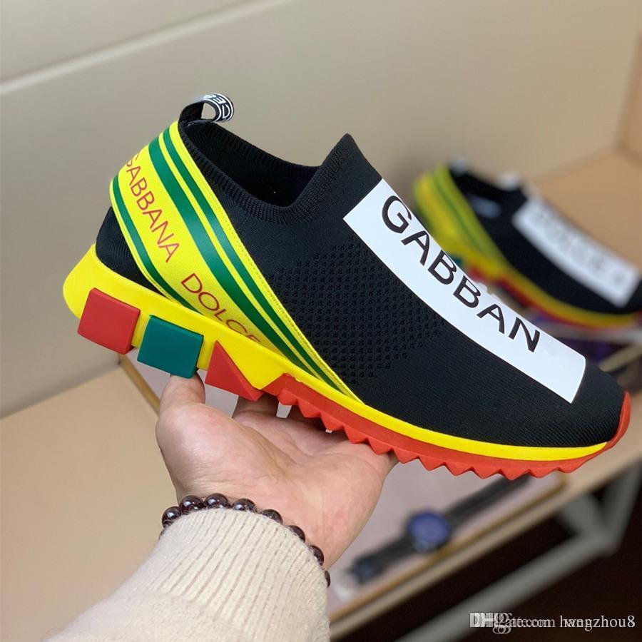 7ae51385ee9 Luxury New Season DOLCE & GABBANA Sorrento logo-woven Mesh Sneakers rubber  sole designer shoes men women runner ace shoes size 36-44