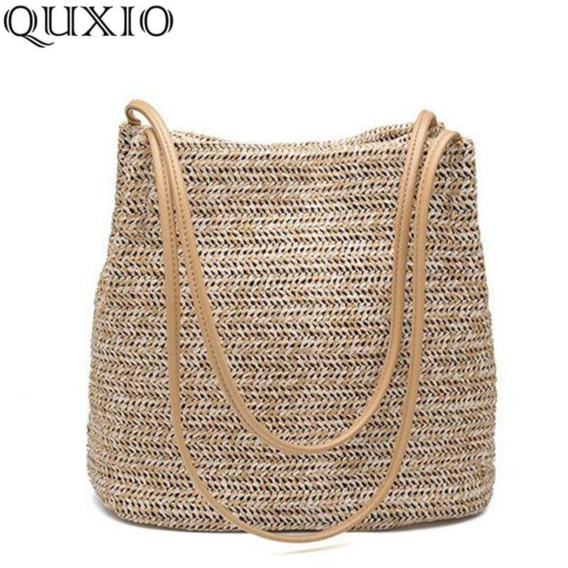 168af9f3d25c 2019 Fashion 2018 South Korea S New Straw Bag Casual Handbag Summer Holiday Shoulder  Bag Ladies Weaving Bucket Beach Shoulder Bags MPB02 Leather Purses ...