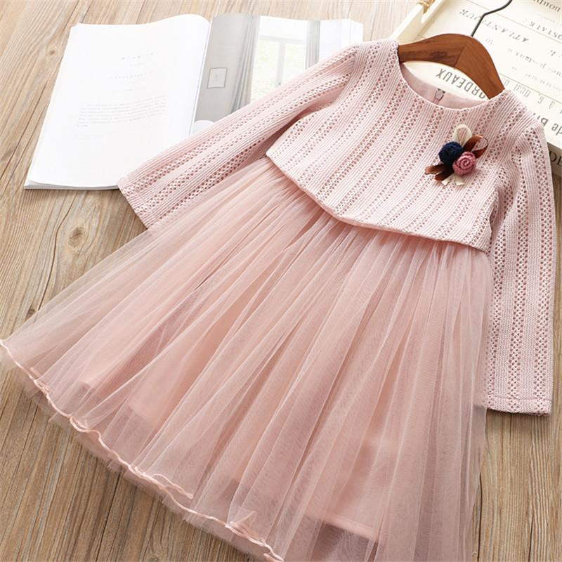 0-6 years High quality girl dress 2019 spring new fashion brief lace mesh solid kid children clothing girl princess dress